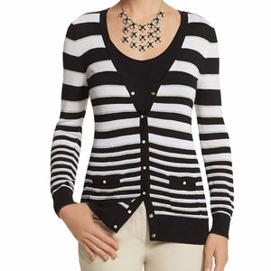 WHBM striped boyfriend cardigan white black gold